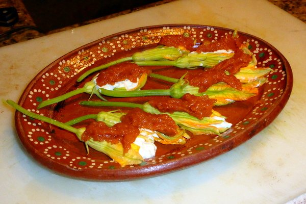 Zucchini flowers stuffed with ricotta cheese