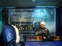 The bartender at ICEBAR Copenhagen mixes drinks
