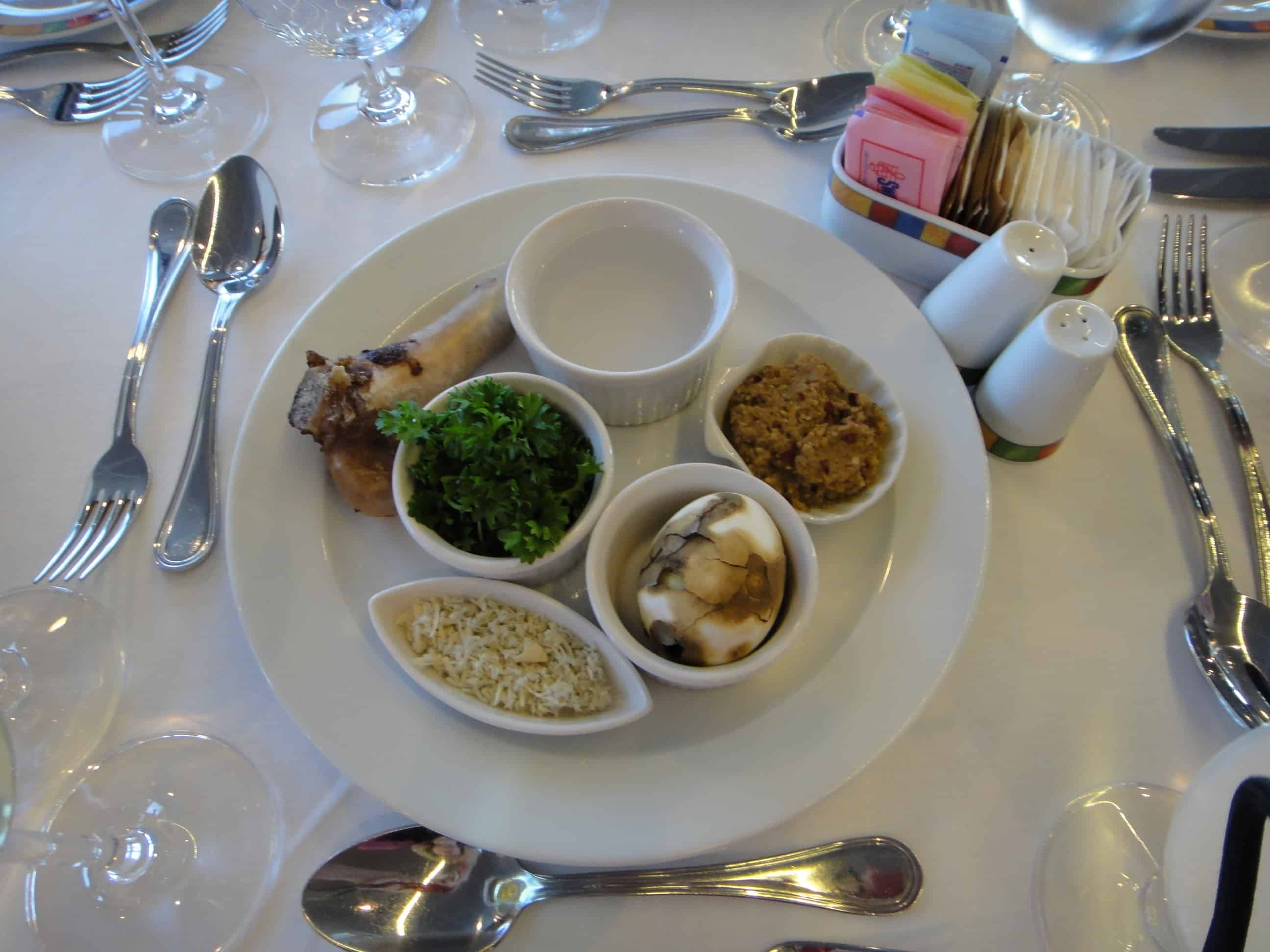 Seder plate at our seder at sea