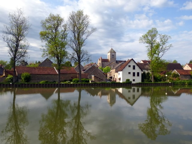 View of small village from our barge on the Burgundy Canal