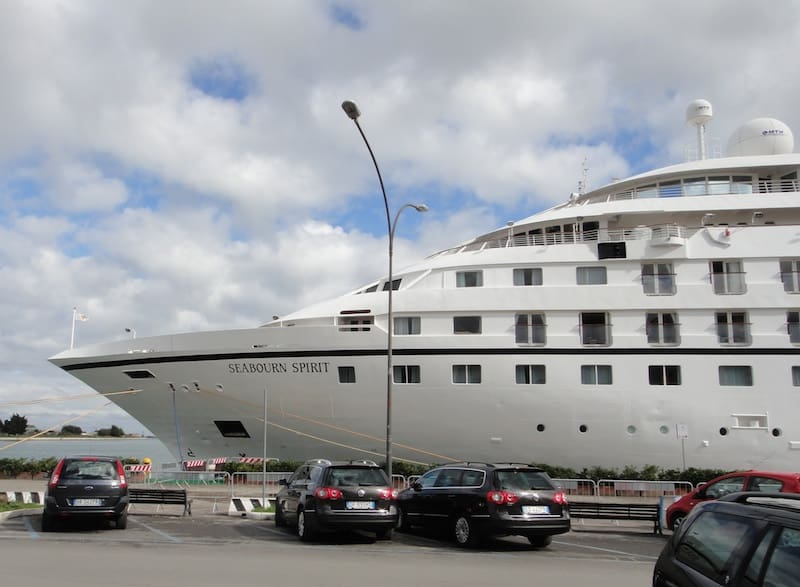 The Seabourn Spirit docked at the port of Brindisi, Italy