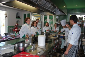 At Italy's Don Alfonso 1890, Chef Andre (foreground) gives cooking lessons (photo, Elinor Griffith)