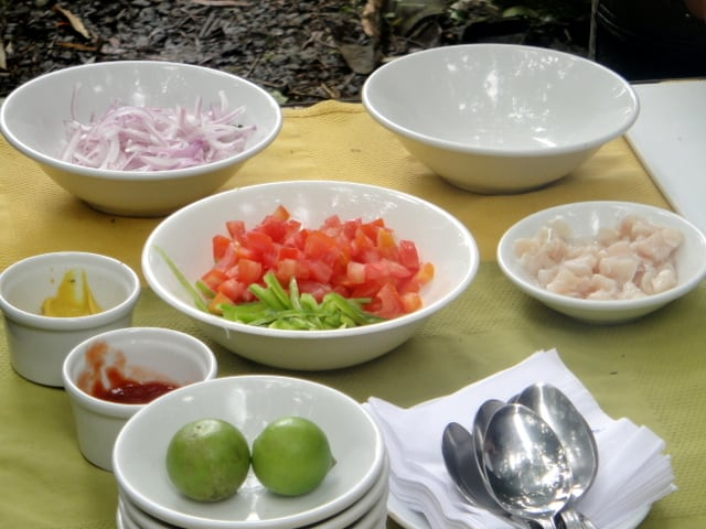 Ingredients for Ecuadorian ceviche