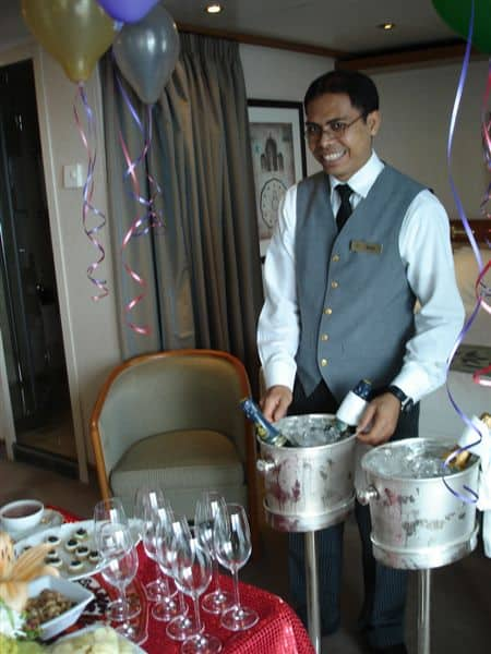 Gusti prepares Birthday Party Guest Post   The butler did it all...on Regent Seven Seas Voyager
