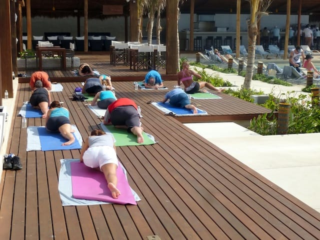 Yoga class at Secrets The Vine in Cancun