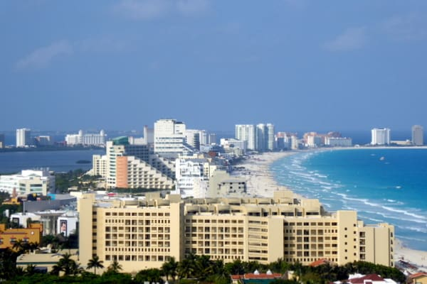View of the Cancun hotel zone
