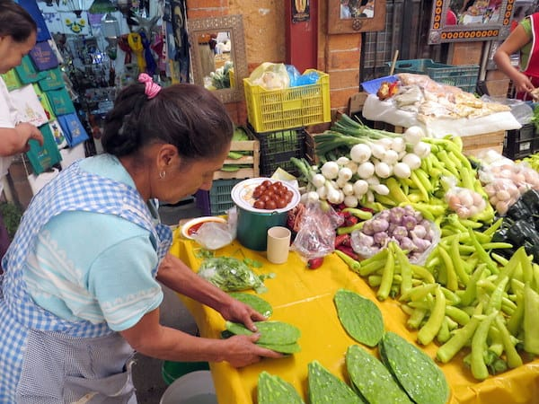 Nopales (prickly pear leaves) at the Mercado Ignacia Ramirez in San Miguel de Allende