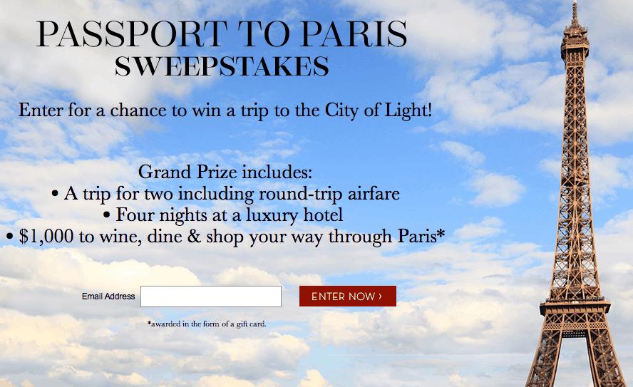 Passport to Paris Sweepstakes