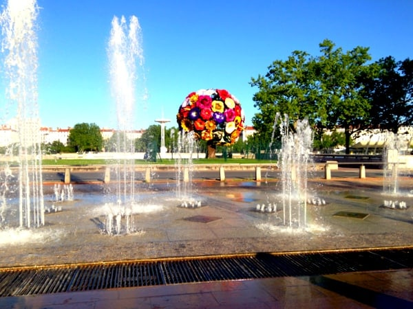Fountains near the Flower Tree Sculpture