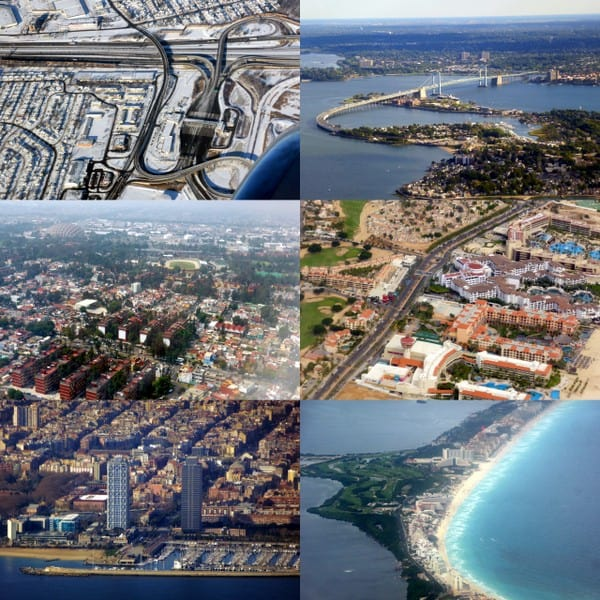 Cityscapes (Mexico City, NYC, Barcelona, Cancun, Newark, Los Cabos)