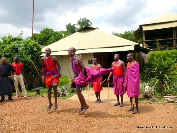 Masai tribesmen welcome us