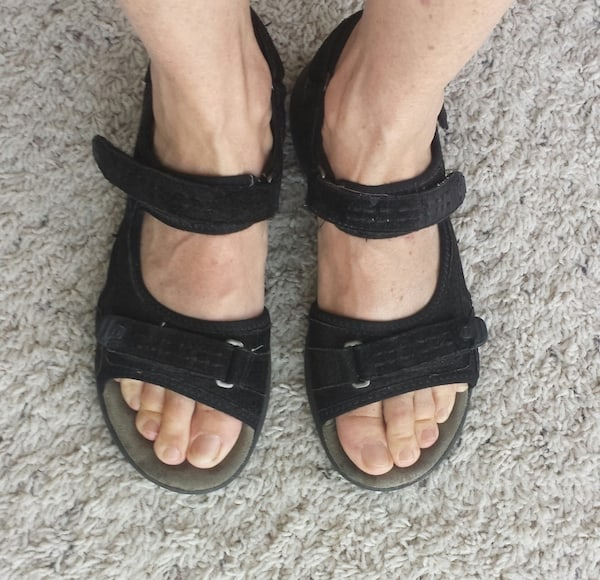 Suzanne's 'old lady' but comfy Clarks sandals
