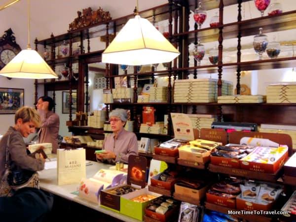 Mahogany furnishings in the shop