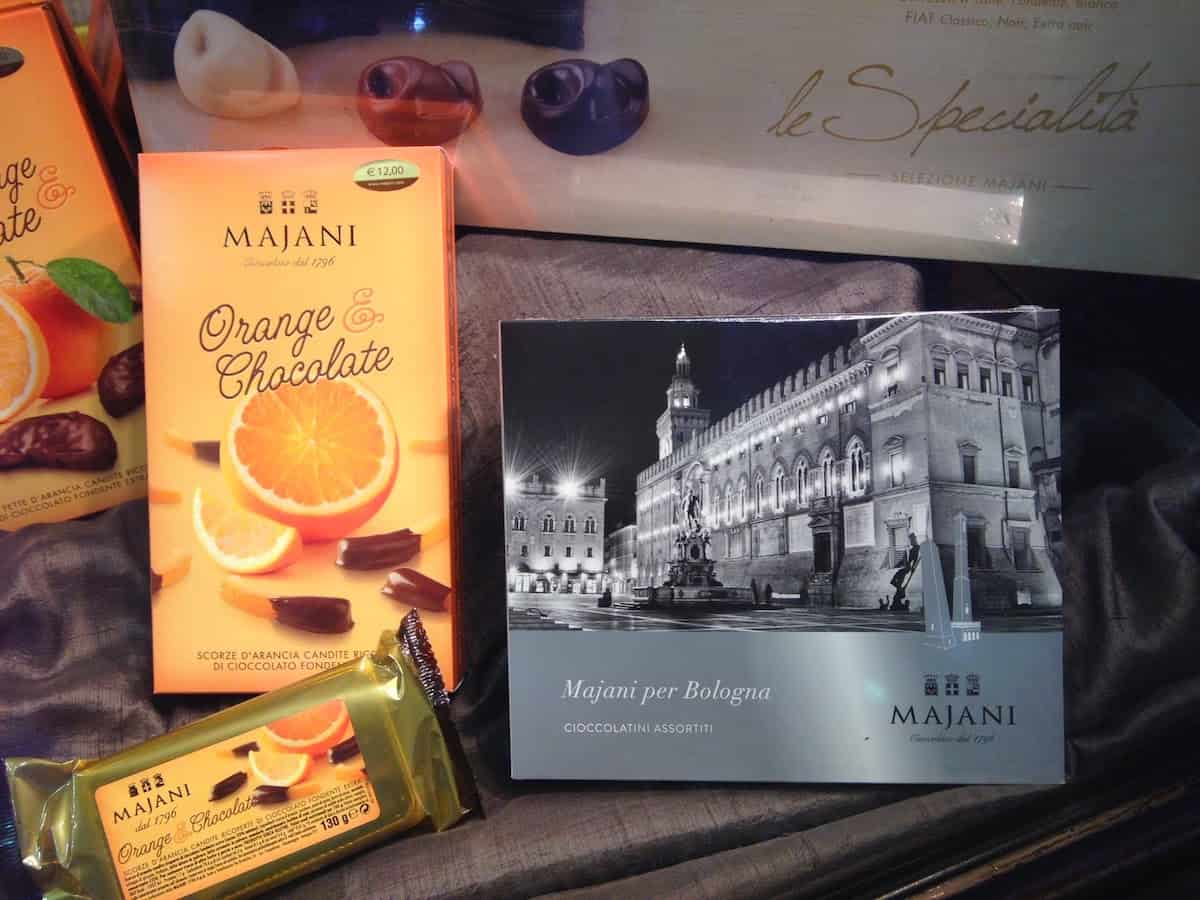 Window of the Majani shop in Bologna