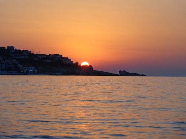 sunset views from the coastal town of Monemvasia, Greece