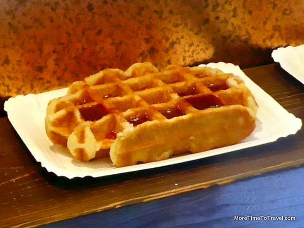 Liege-style waffle in a shop window