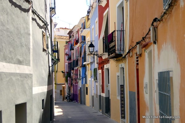 Winding street in the old quarter of Villajoyosa