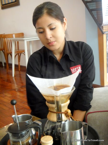 Pourover coffee at Cafe Bisetti in Barranca, Peru