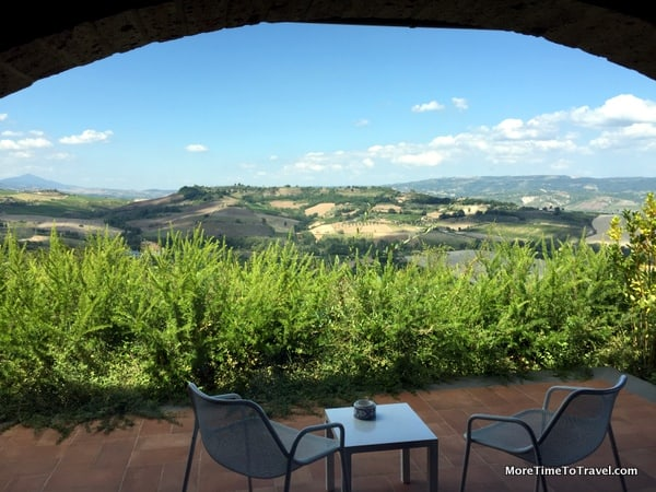 View of the hills from our terrace at Altarocca