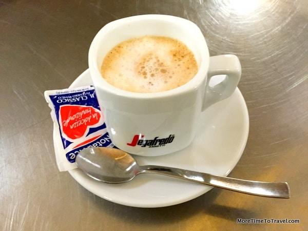 After-dinner espresso at Zeppelin Restaurant in Orvieto, Italy