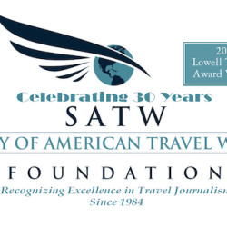 Irene S. Levine is honored as a winner in the 2015 SATW Foundation Lowell Thomas Competition