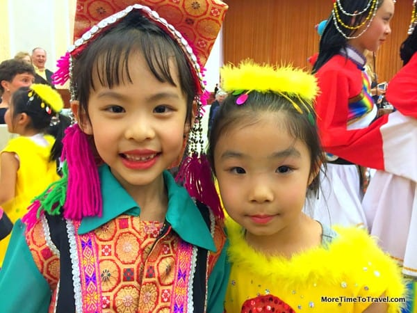 Two young performers at the Great Hall of the People in Beijing