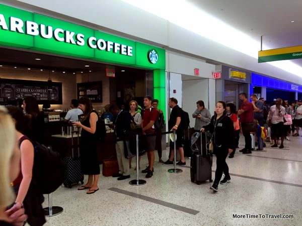 Long lines at the Starbucks stand just outside the Lounge