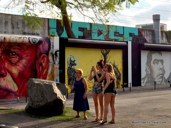 Tourist taking photos at the Wynwood Walls in Miami