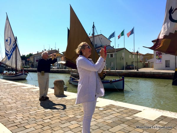 Jerry and my friend Linda taking photos in Cesenatico, Italy (Emilia Romagna)