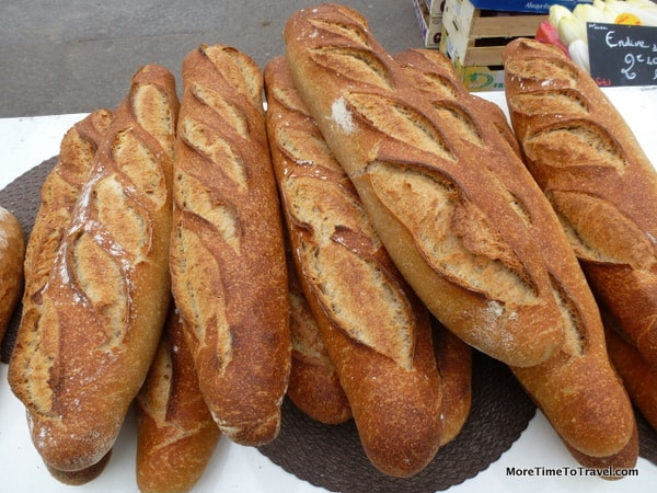 French baguettes (of course!) at the Saint Antoine Market in Lyon