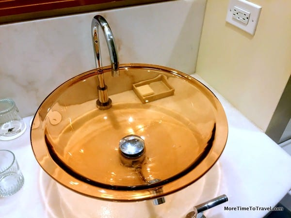 Pink sink at the JW Marriott Essex House New York