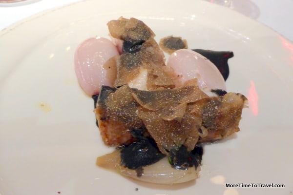 Chef Agostini's Storione ai Carboni, Scalogno di Romagna & Tartufo Nero (Smoked sturgeon, shallot & black truffle)