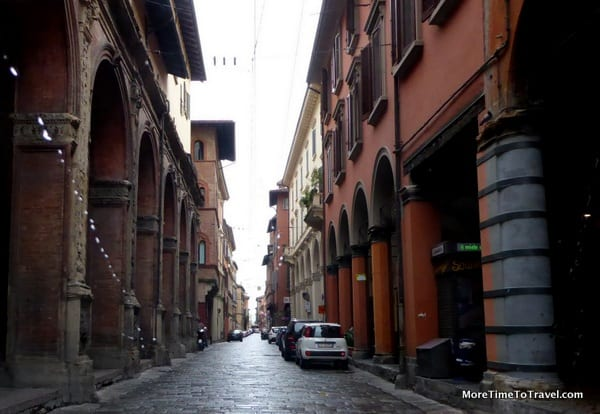 Rainy day on a street in Bologna, Italy