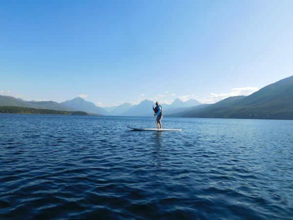 Nancy paddleboarding at Glacier National Park