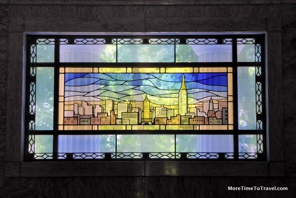 One of the stained glass windows on the Helmsley Mausoleum at Sleepy Hollow Cemetery