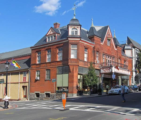 Tarrytown Music Hall with its ornate roof and marquee