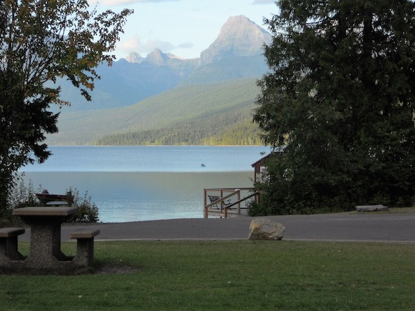 View of the lake from Lake McDonald Lodge