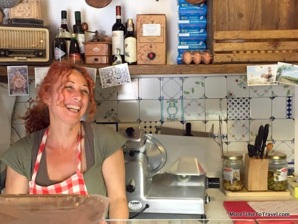 The lovely shopkeeper in the alimentari in San Gusme