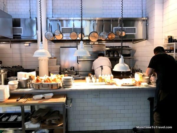 Open kitchen at White Gold Butchers