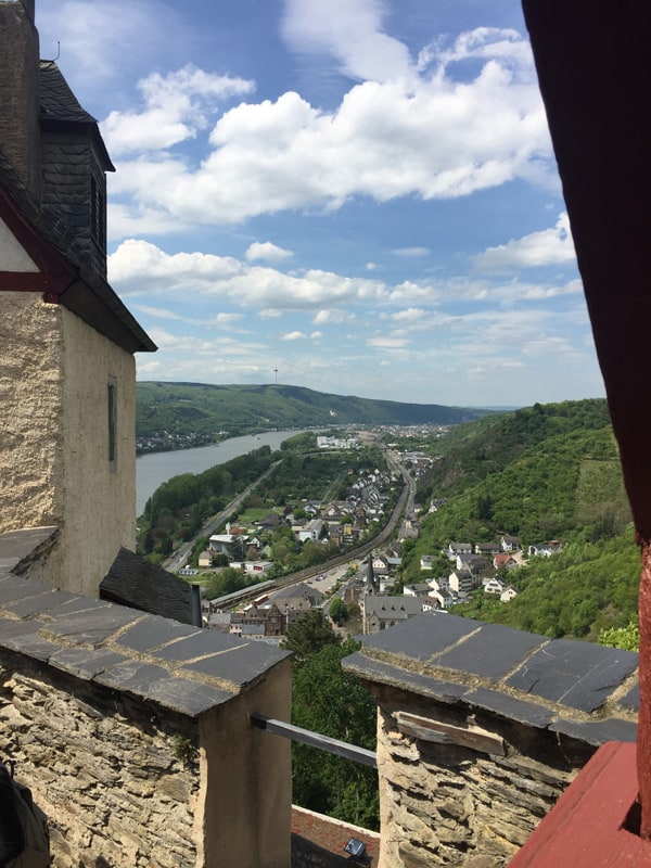 View of the Rhine from top of Marksburg Castle