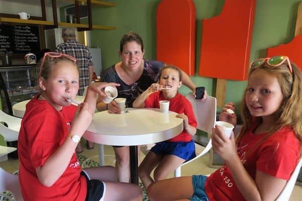 Laura and the girls enjoying ice cream