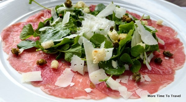 Carpaccio at Due Mari: 40-day dry-aged sirloin, watercress, capers and lemon