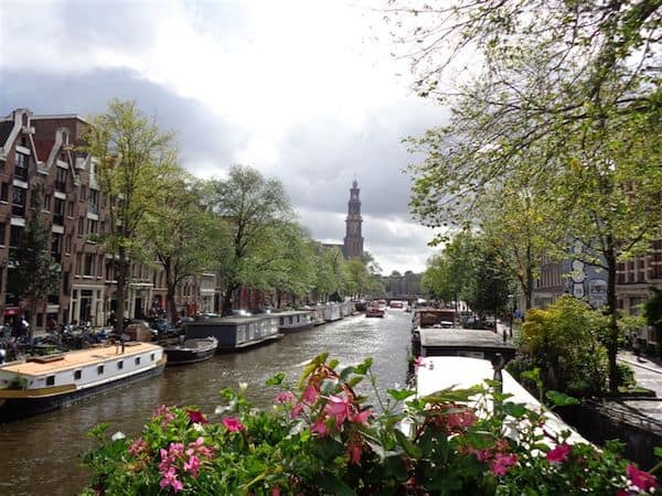 Houseboats on one of the scenic canals in Amsterdam