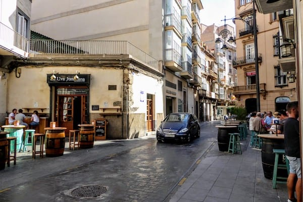 Inviting street in Cartagena Spain, lined with tapas bars