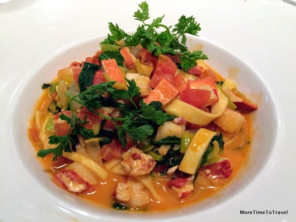 Maine lobster tagliatelle with leeks, arugula and chervil butter
