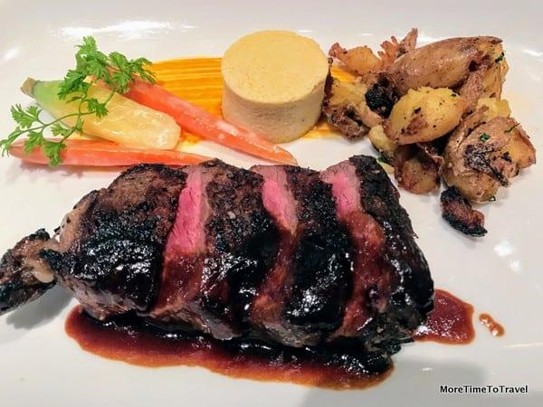 28-day dry aged New York steak with Dijon mustard custard, crispy potatoes and Bordelaise sauce