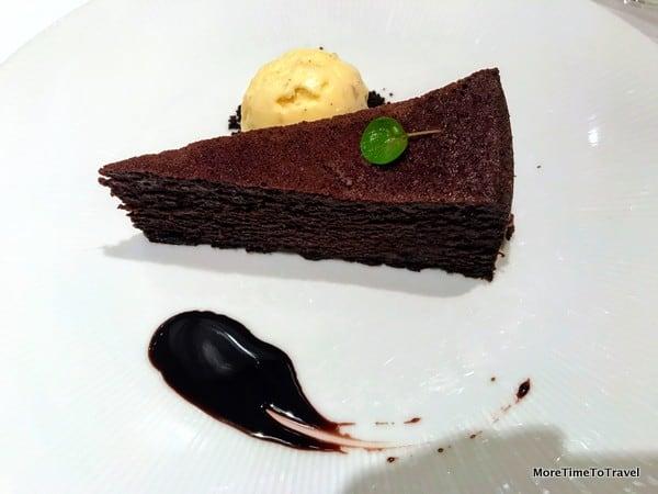 Gotham chocolate cake served warm with salted almond ice cream