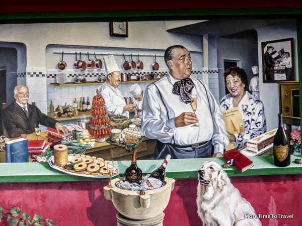 One of the murals outdoors at Paul Bocuse