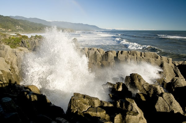 Limestone formations - Pancake Rocks - with a blowhole in Punakaiki, Paparoa National Park