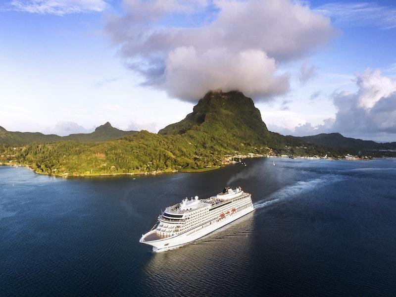 The Viking Sun ship near Bora Bora, Society Islands, French Polynesia (Credit: Viking Cruises)